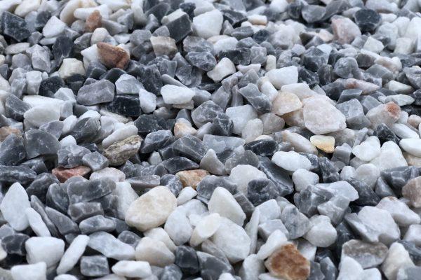 Grava Melbourne, gravilla gris azulada y blanco rosa