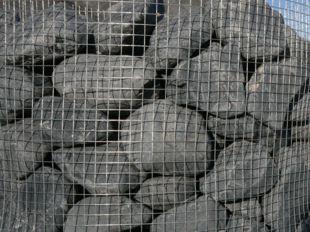 Black big decorative pebbles and boulders