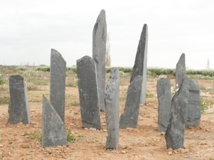 monolithic pieces of  black slate